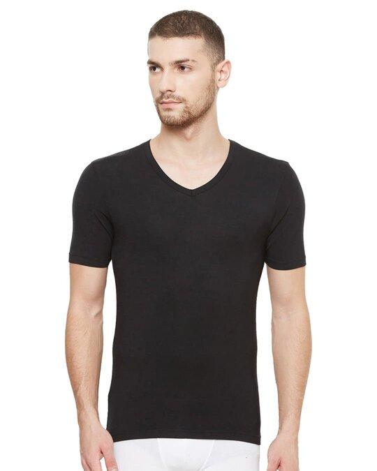 Shop Dario Modal Micro V Neck Undershirts   Black-Front
