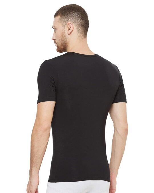 Shop Dario Modal Micro V Neck Undershirts   Black-Back