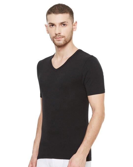 Shop Dario Modal Micro V Neck Undershirts   Black-Design