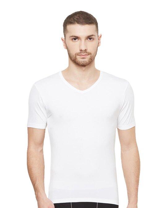 Shop Dario Modal Micro V Neck Undershirts   White-Front
