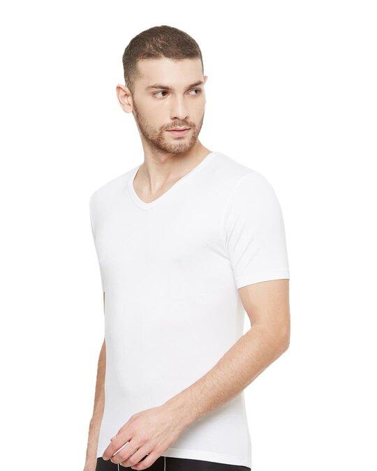 Shop Dario Modal Micro V Neck Undershirts   White-Design