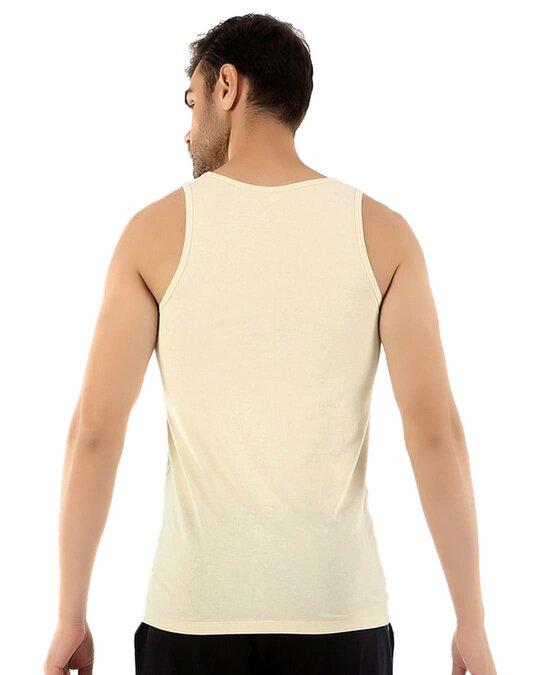Shop Fresco Slim Fit Cotton Vest   Tan-Back
