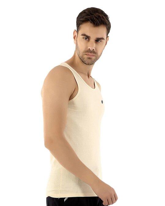Shop Fresco Slim Fit Cotton Vest   Tan-Full