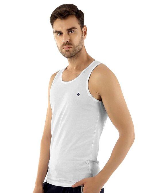 Shop Fresco Slim Fit Cotton Vest   White