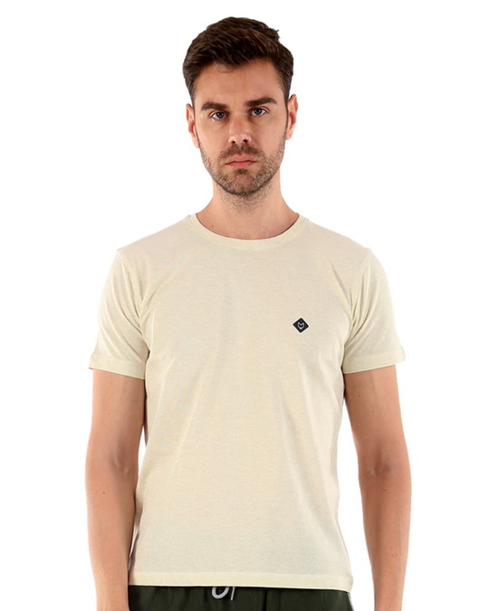 Shop Rico Organic Cotton Melange T Shirts   Brown-Front