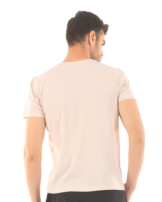 Shop Rico Organic Cotton Melange T Shirts   Peach-Full