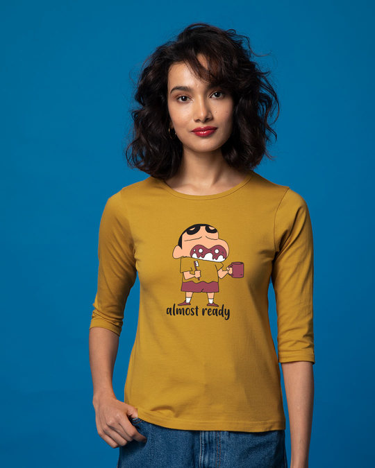 Shop Almost Ready Shinchan Round Neck 3/4th Sleeve T-Shirt (SCL)-Front