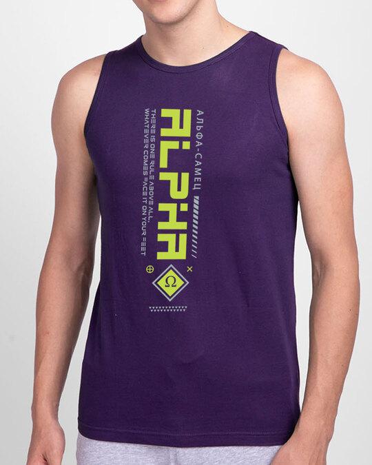 Shop Alpha Class Round Neck Vest Parachute Purple -Front