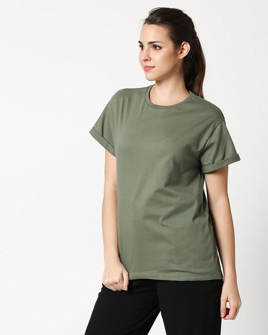 Shop Alpha Green Boyfriend T-Shirt-Full