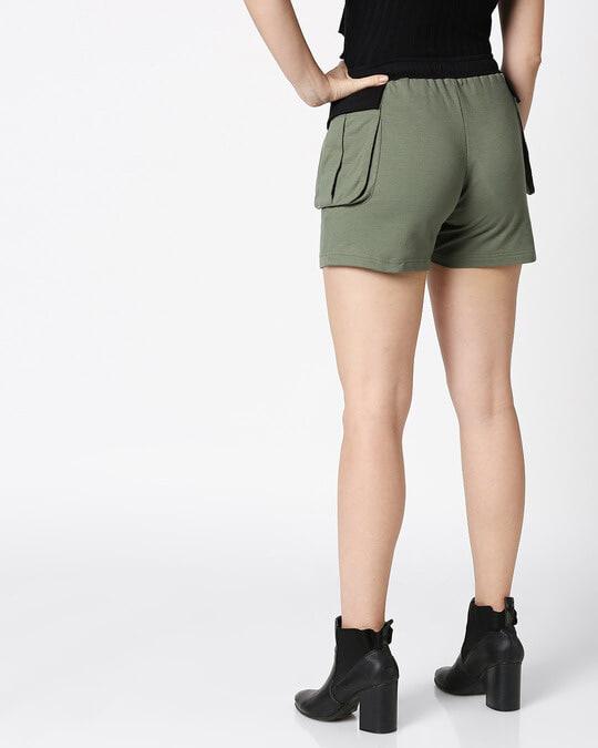 Shop Alpha Green Colorblock Cargo Shorts-Full