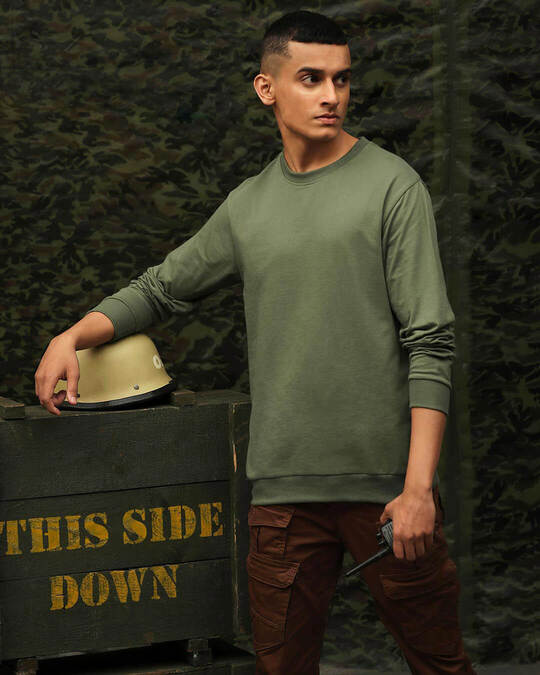 Shop Alpha Green Fleece Sweater-Front