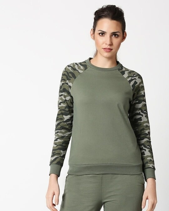 Shop Alpha Green Raglan Sleeve Fleece Sweater-Back