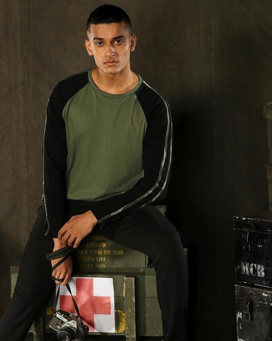 Shop Alpha Green Full Sleeve Raglan T-Shirt-Front