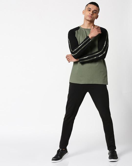 Shop Alpha Green Full Sleeve Raglan T-Shirt