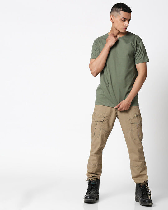 Shop Alpha Green Half Sleeve T-Shirt