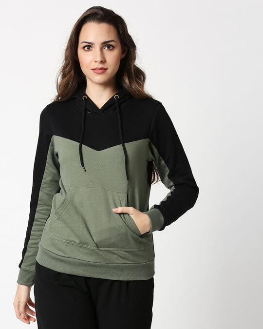 Shop Alpha Green Color Block Hoodie-Back