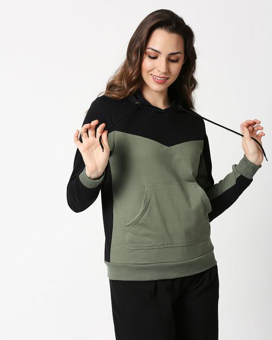 Shop Alpha Green Color Block Hoodie-Design
