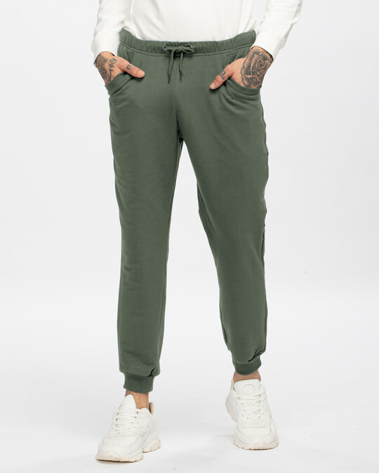 Shop Alpha Green Casual Jogger Pants-Front