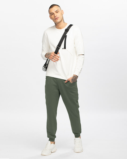 Shop Alpha Green Casual Jogger Pants-Full