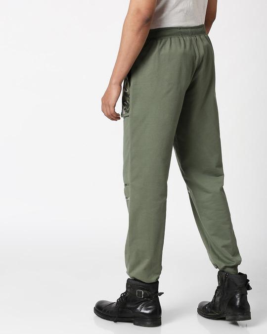 Shop Alpha Green Coloblock Joggers-Design