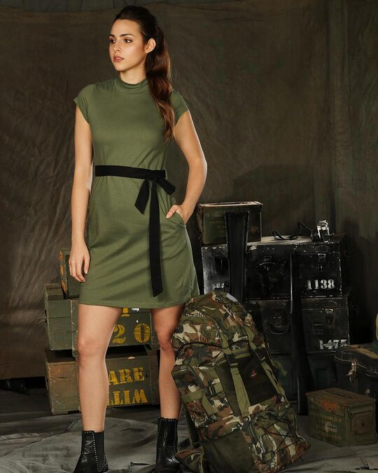 Shop Alpha Green Neck Pocket Dress-Front