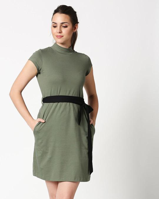 Shop Alpha Green Neck Pocket Dress-Back