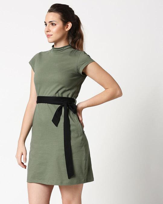 Shop Alpha Green Neck Pocket Dress-Design