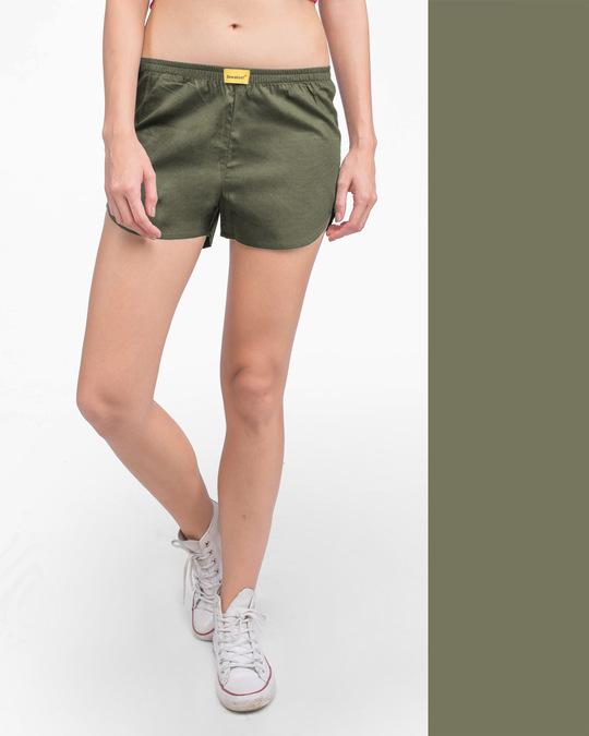 Shop Alpha Green Plain Boxer-Front