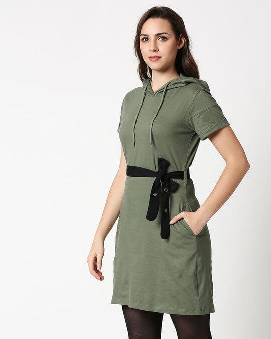 Shop Alpha Green Women's Hoodie Dress-Design
