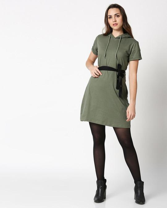 Shop Alpha Green Women's Hoodie Dress