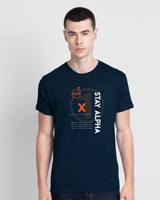 Shop Alpha Half Sleeve T-shirt Navy Blue-Back