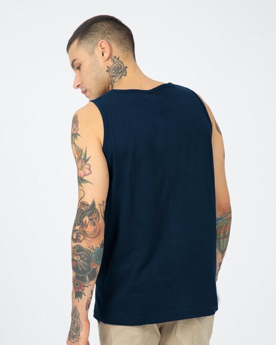Shop Alpha Round Neck Vest Navy Blue-Back