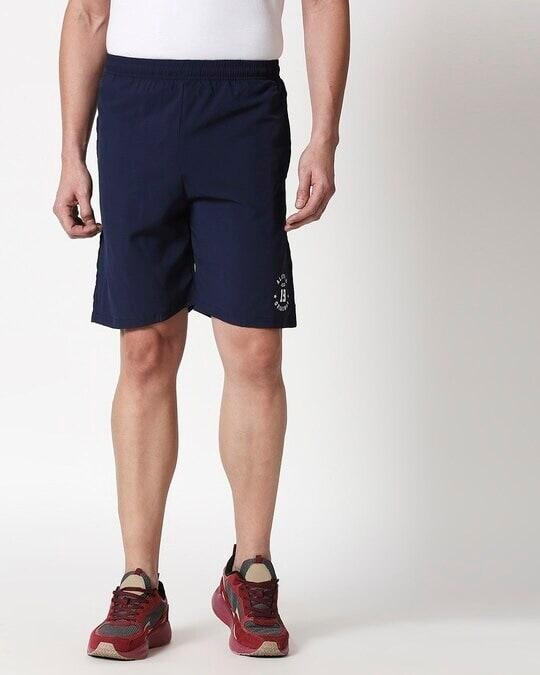Shop Alstyle   Navy Taffeta Shorts-Back