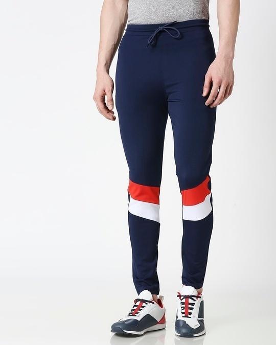 Shop Men Navy Track Pant-Back