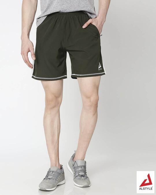 Shop Men Olive Shorts-Front