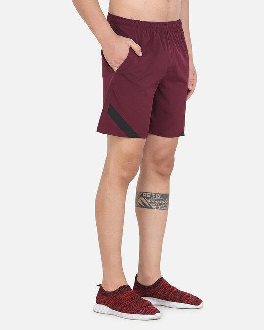 Shop Solid Men Maroon Basic Shorts-Back
