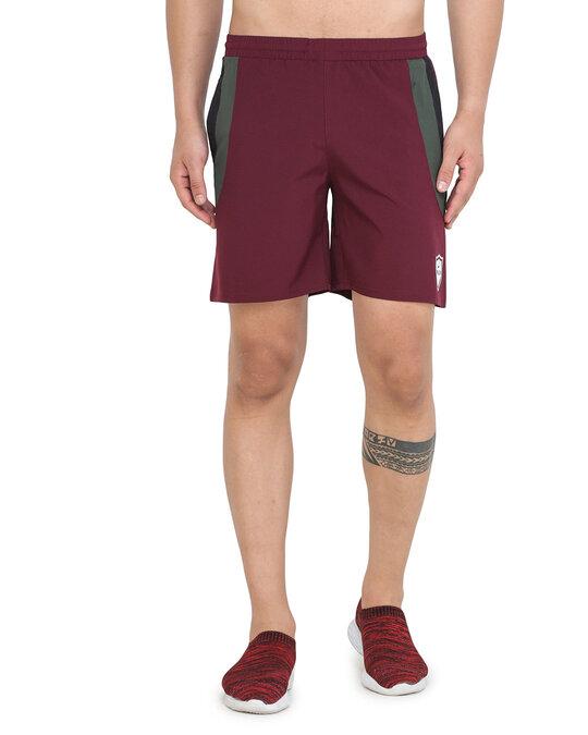 Shop Solid Men Maroon Basic Shorts-Front