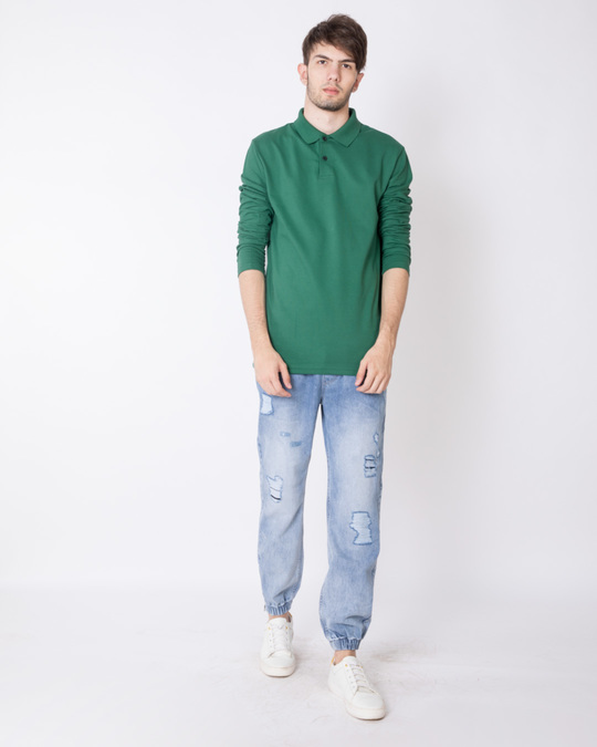 Shop Amazon Green Full Sleeve Pique Polo T-Shirt-Full