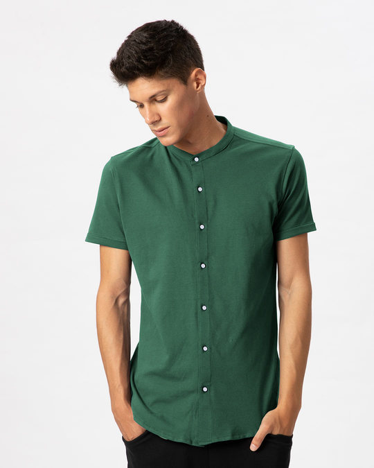 Shop Amazon Green Mandarin Collar Pique Shirt-Front