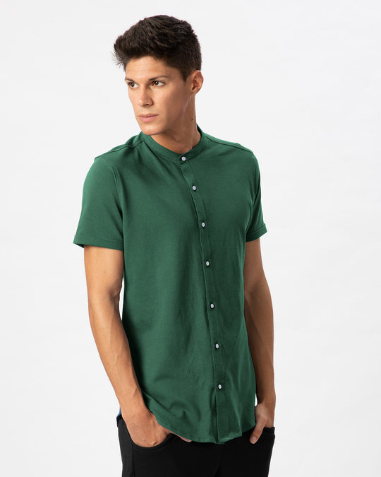 Shop Amazon Green Mandarin Collar Pique Shirt-Back