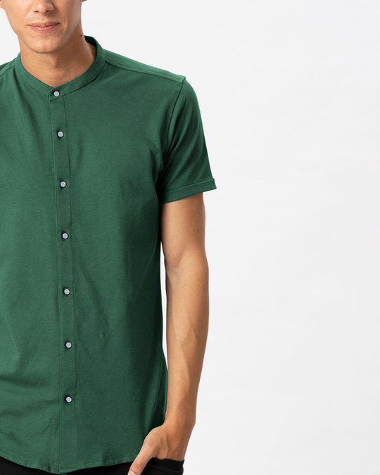 Shop Amazon Green Mandarin Collar Pique Shirt