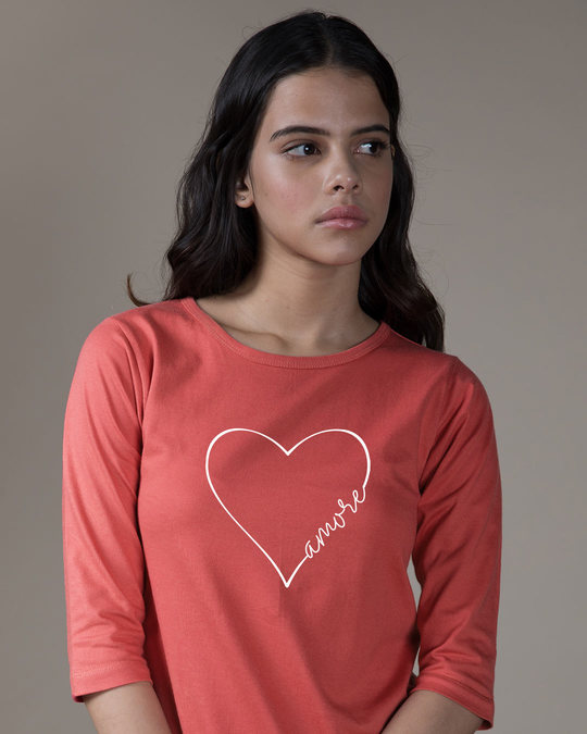 Shop Amore Heart Round Neck 3/4th Sleeve T-Shirt-Front