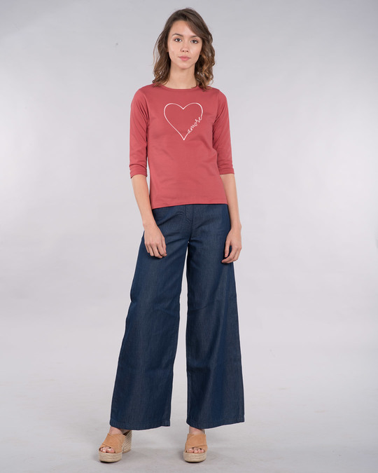 Shop Amore Heart Round Neck 3/4th Sleeve T-Shirt-Full