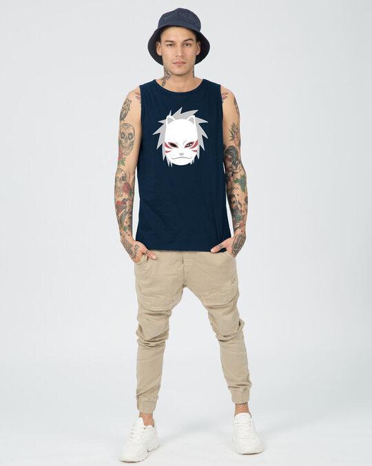 Shop Anbu Round Neck Vest Navy Blue-Full