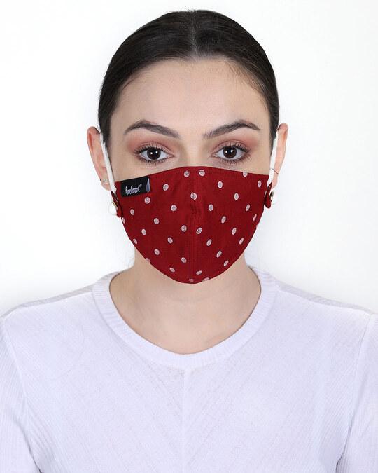 Shop 3 Ply Multicolor Polka Dot Printed Rayon Fabric Fashion Mask Pack Of 2-Back