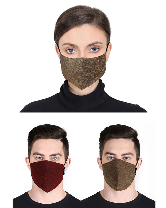 Shop 3 Ply Multicolor Solid Poly Velvet Fabric Fashion Mask Pack Of 3-Front