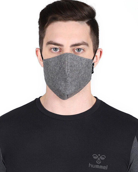 Shop 3 Ply Multicolor Solid Woolen Fabric Fashion Mask Pack Of 3-Back