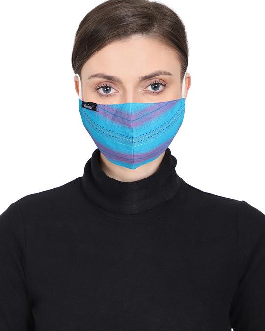 Shop 3 Ply Reusable Multicolor Cotton Jacquard Fabric Fashion Mask Pack Of 2-Back