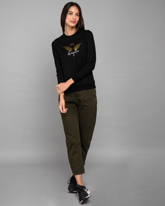 Shop Angelic Wings Gold Print Fleece Light Sweatshirts-Design