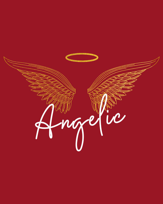 Shop Angelic Wings Gold Print Half Sleeve T-Shirt-Full